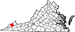 State map highlighting Dickenson County