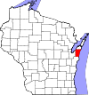 State map highlighting Kewaunee County
