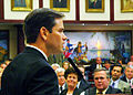 Marco Rubio speaks upon selection as Speaker, with Lt. Gov. Toni Jennings at center and Gov. Jeb Bush at right.jpg