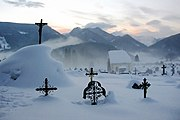 The cemetery in deep snow