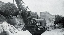 Marion Steam Shovel Model 90 som arbetar på Panamakanalen 1908