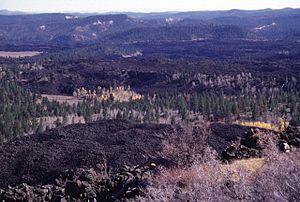 Markagunt Plateau - The youngest features of the Markagunt Plateau volcanic field are blocky unvegetated lava flows known locally as the 'Black Rock Desert.'