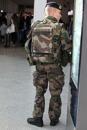 "Troupes de marine - A ""marsouin"" standing guard at the Gare de Lyon in 2016."