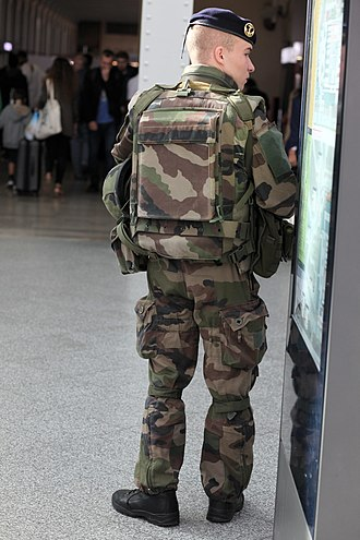 "Troupes de marine - A ""marsouin"" standing guard at the Gare de Lyon in 2016."