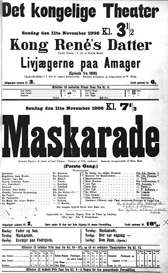 Maskarade - Poster for the premiere performance