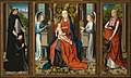 Master of the St. Lucy Legend - Triptych of Madonna and Child with Angels; Donor and His Patron Saint Peter Martyr; and Saint Jerome - Google Art Project.jpg