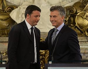Argentina–Italy relations - Argentine President Mauricio Macri and Italian Prime Minister Matteo Renzi in Buenos Aires, 2016