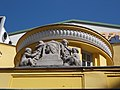 Matthias Corvinus relief by József Róna on the top of Corvin cinema. - Budapest District VIII.JPG