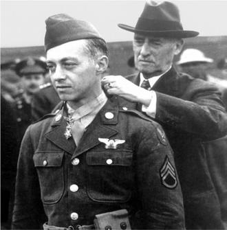 Maynard Harrison Smith - Secretary of War  Henry L. Stimson awarding the Medal of Honor to S/Sgt. Smith
