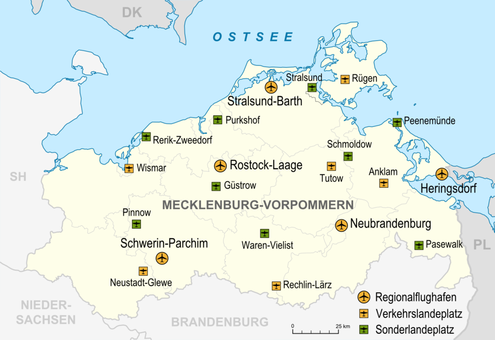 Mecklenburg-Vorpommern Flughäfen und Landeplätze