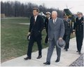 Meeting with President Eisenhower. President Kennedy, President Eisenhower, military aides. Camp David, MD. - NARA - 194198.tif