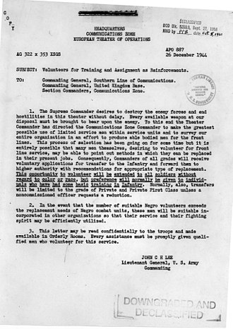 "John C. H. Lee - Memo from Lieutenant General J. C. H. Lee calling for volunteers for infantry training ""without regard to color or race""."