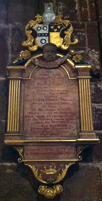 Laurence Fogg - Memorial to Laurence Fogg in Chester Cathedral