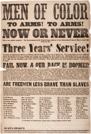 William Whipper - 1863 Broadside listing Whipper as a speaker calling men of color to arms.