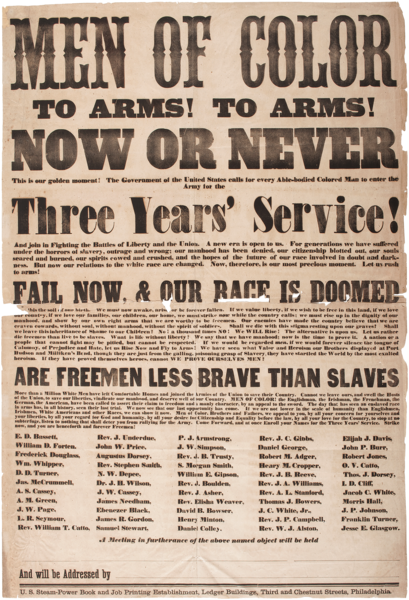 1863 Broadside listing Douglass as a speaker calling men of color to arms