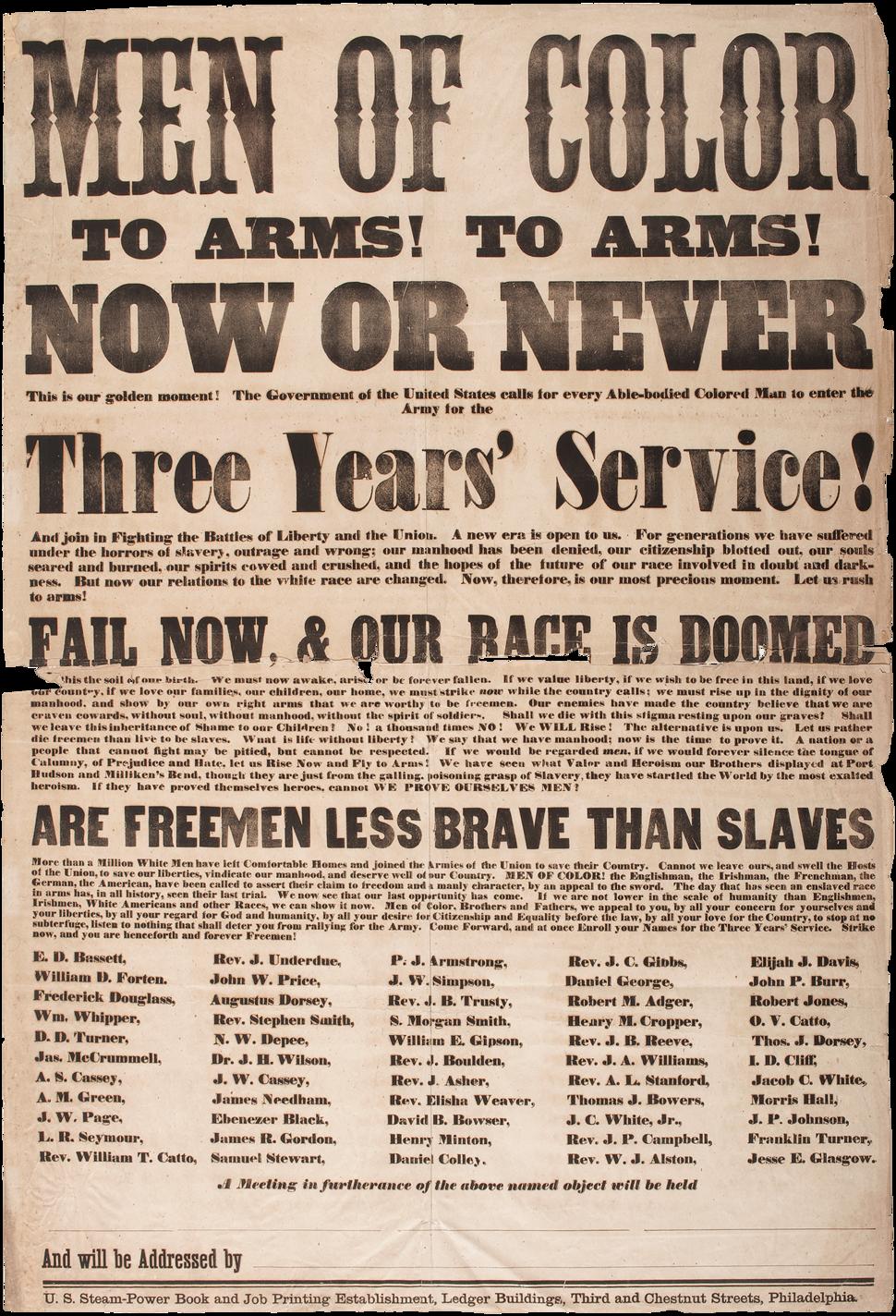 Men of Color Civil War Recruitment Broadside 1863