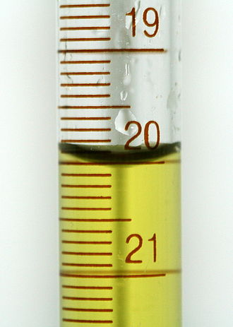 Meniscus (liquid) - A meniscus as seen in a burette of colored water. '20.00 mL' is the correct depth measurement.