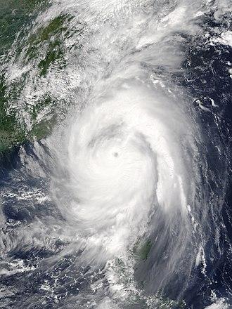 Typhoon Meranti - Typhoon Meranti passing just south of Taiwan on September 14