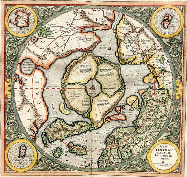 Gerardus Mercator's map of the North Pole from 1595 Mercator north pole 1595.jpg