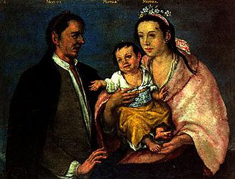 """Museo Nacional de Antropología (Madrid) - A Peruvian example of pintura de castas (""""caste pictures""""), showing a Mestizo as the offspring of Mestizo parents."""