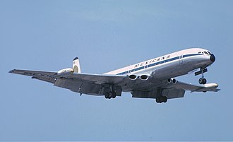 Four-engined jet aircraft - The de Havilland Comet, the first commercial jetliner, used four jet engines.