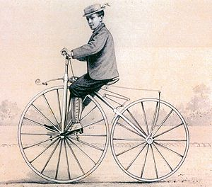 Bicycle - Michaux's son on a velocipede 1868