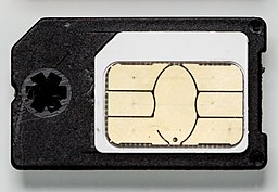 Micro-SIM card in a Mini SIM card adapter-0736