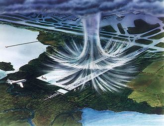 Microburst - Illustration of a microburst. The air moves in a downward motion until it hits ground level. It then spreads outward in all directions. The wind regime in a microburst is opposite to that of a tornado.