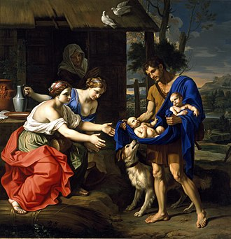 Romulus and Remus - The Shepherd Faustulus Bringing Romulus and Remus to His Wife, Nicolas Mignard (1654)