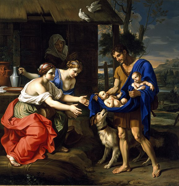 File:Mignard - The Shepherd Faustulus Bringing Romulus and Remus to His Wife.jpg
