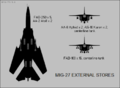 Mikoyan-Gurevich MiG-27 silhouette showing external stores configurations.png