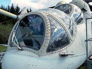 Mil Mi-24P Hind gunner and cockpit.JPG