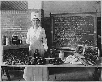 United States Food Administration - Mina Van Winkle, in Food Administration uniform, explains Victory gardening and explains recommended food processing.