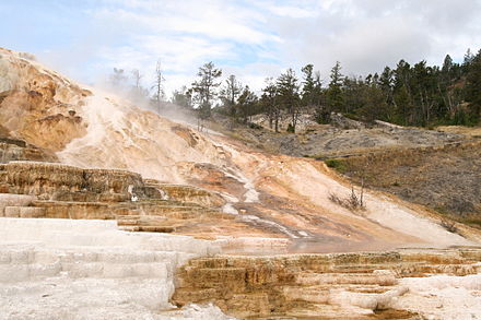 Minerva Terrace served as the stand-in for the planet Vulcan. Minerva Terrace-Yellowstone.jpg