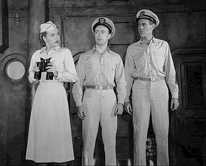 Don Fellows - Fellows (center) as Ensign Pulver with Patricia Ferris and Henry Fonda in Mister Roberts on Broadway