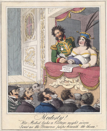 Modesty!, etching published by G. Humphrey, London, 1821: Caroline of Brunswick, at a theatre in Genoa, with her secretary and constant companion Bartolomeo Pergami. Modesty 1821.jpg