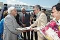 Mohd. Hamid Ansari being received by the Governor of Jammu and Kashmir, Shri N. N. Vohra and the Chief Minister of Jammu and Kashmir, Shri Omar Abdullah, at Srinagar Airport, Jammu & Kashmir on September 14, 2012.jpg