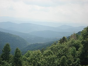 Appalachian Mountains - August 2007 view from the slopes of Back Allegheny Mountain, looking east; visible are Allegheny Mountain (in the Monongahela National Forest of West Virginia, middle distance) and Shenandoah Mountain (in the George Washington National Forest of Virginia, far distance)