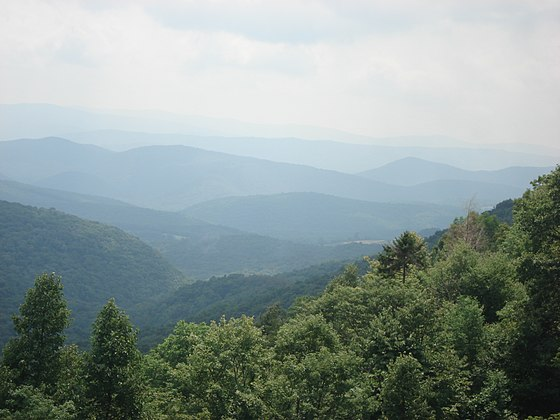 View from the slopes of Back Allegheny Mountain, looking east, in the Appalachian Mountains, North America. Visible are Allegheny Mountain (in the Monongahela National Forest of West Virginia, middle distance) and Shenandoah Mountain (in the George Washington National Forest of Virginia, far distance). - Appalachian Mountains