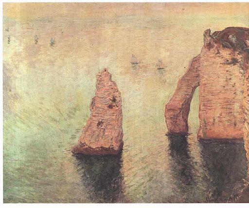 Monet - Segelboote hinter der Nadel bei Eretat 1885