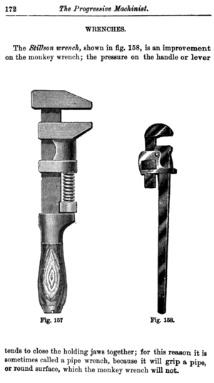 Monkey wrench - Monkey wrench (left) compared to Stillson or pipe wrench (right)