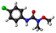 Ball-and-stick model of the monolinuron molecule