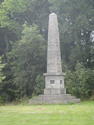Crimonmogate - The simple obelisk designed by Simpson to commemorate Milne