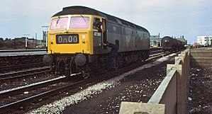 Train reporting number - A Class 47 locomotive displaying headcode 0000, seen in 1976