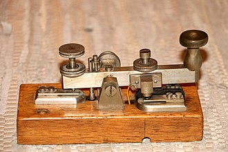 Morse key to transmit morse code. (This key was used by Gotthard railway) Morsetaste.jpg