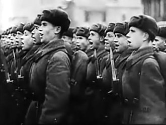 Moscow Strikes Back - Image: Moscow Strikes Back 11 25 cheering Red Army parade, bayonets fixed