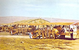 "Naval Air Service (Greece) - ""Z"" Squadron at Moudros Airfield ready for inspection (1917)."