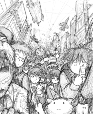 Megatokyo - The grayscale artwork in Megatokyo has received praise from critics in The New York Times and elsewhere.