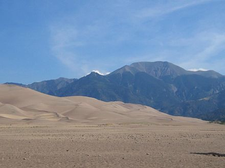 The tallest dunes in North America, at Great Sand Dunes National Park Mt Herard sand.JPG