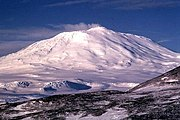 Mount Erebus, an active volcano on Ross Island.